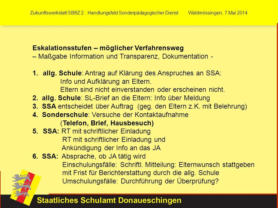 Zukunftswerkstatt SBBZ 2 : Handlungsfeld Sonderpädagogischer Dienst Waldmössingen, 7.Mai 2014 Eskalationsstufen – möglicher Verfahrensweg – Maßgabe In