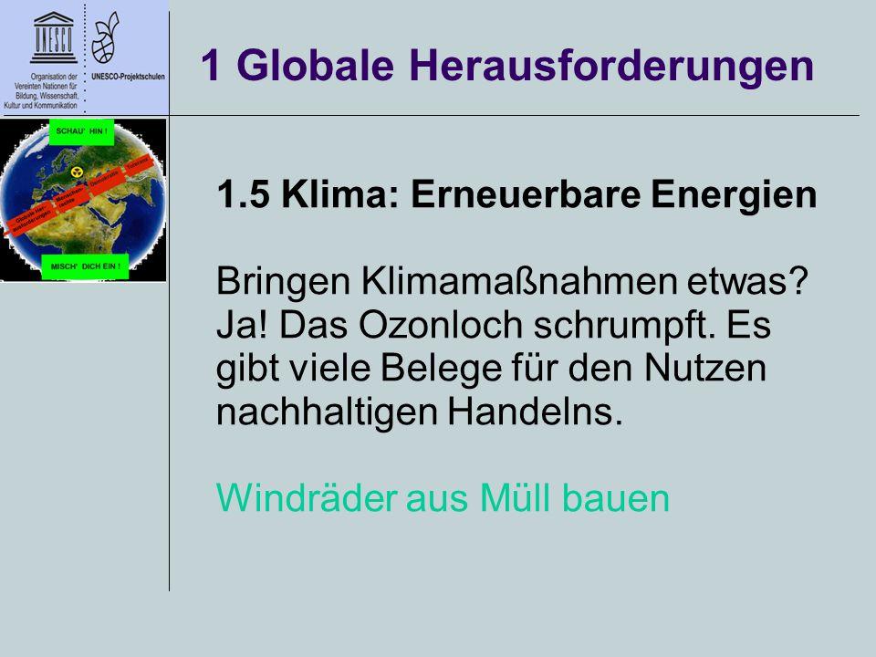 1 Globale Herausforderungen 1.5 Klima: Erneuerbare Energien Bringen Klimamaßnahmen etwas? Ja! Das Ozonloch schrumpft. Es gibt viele Belege für den Nut