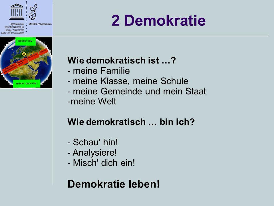 2 Demokratie Wie demokratisch ist …? - meine Familie - meine Klasse, meine Schule - meine Gemeinde und mein Staat -meine Welt Wie demokratisch … bin i