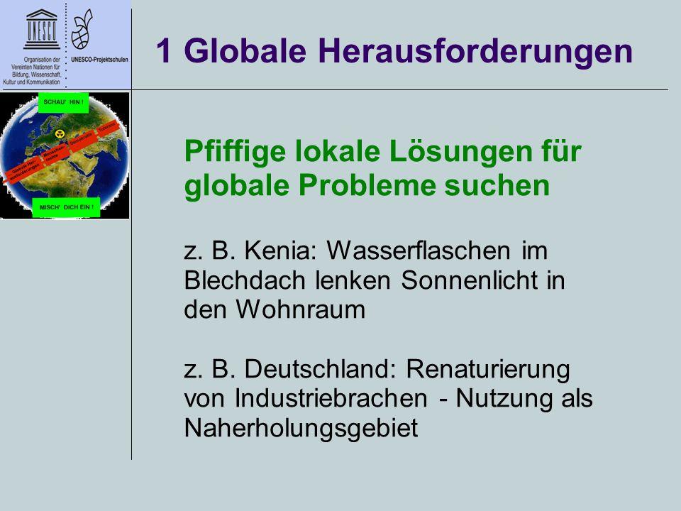 1 Globale Herausforderungen Pfiffige lokale Lösungen für globale Probleme suchen z. B. Kenia: Wasserflaschen im Blechdach lenken Sonnenlicht in den Wo