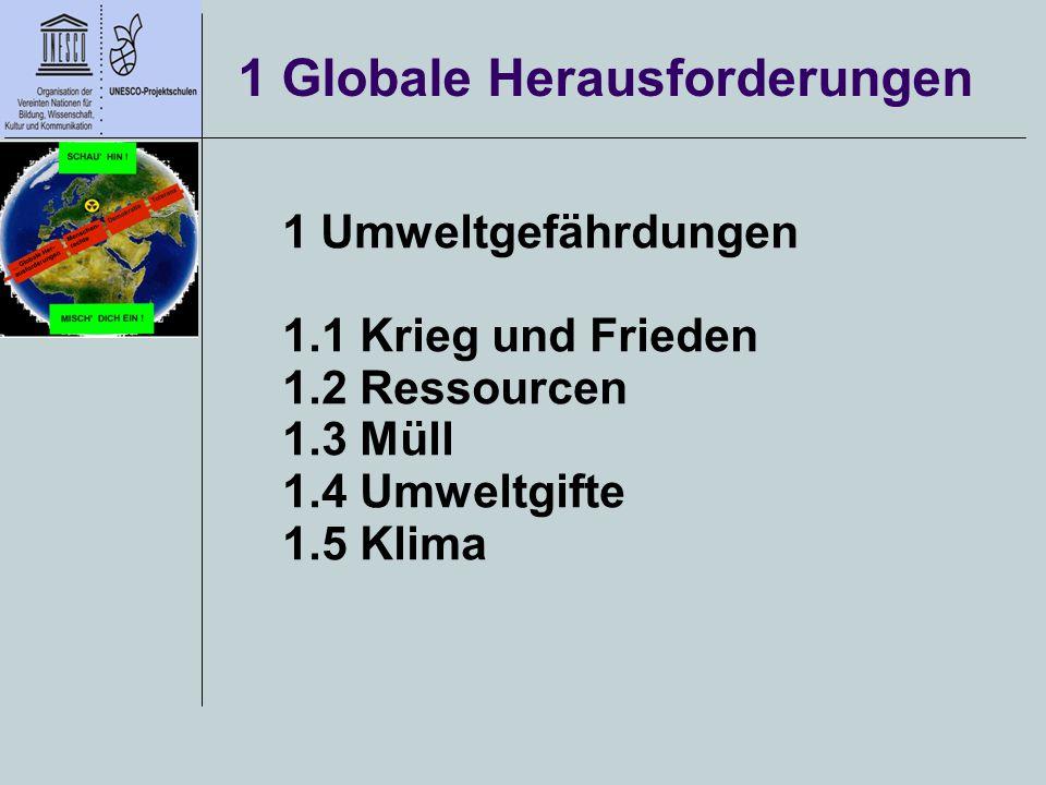 1 Globale Herausforderungen 1 Umweltgefährdungen 1.1 Krieg und Frieden 1.2 Ressourcen 1.3 Müll 1.4 Umweltgifte 1.5 Klima