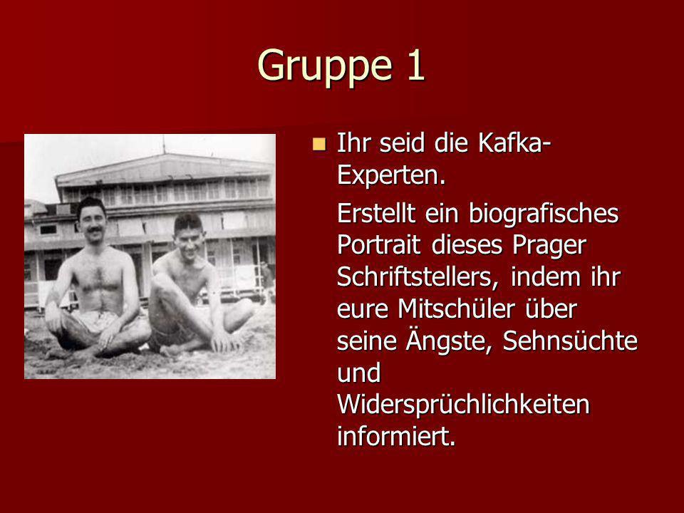 Gruppe 1 Ihr seid die Kafka- Experten.Ihr seid die Kafka- Experten.
