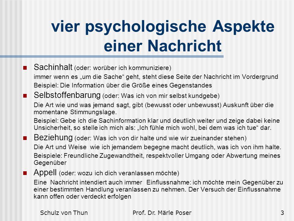 """Schulz von ThunProf. Dr. Märle Poser3 vier psychologische Aspekte einer Nachricht Sachinhalt (oder: worüber ich kommuniziere) immer wenn es """"um die Sa"""