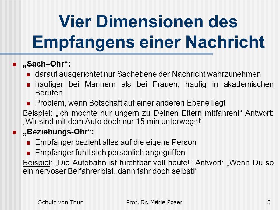 """Schulz von ThunProf. Dr. Märle Poser5 Vier Dimensionen des Empfangens einer Nachricht """"Sach–Ohr"""": darauf ausgerichtet nur Sachebene der Nachricht wahr"""