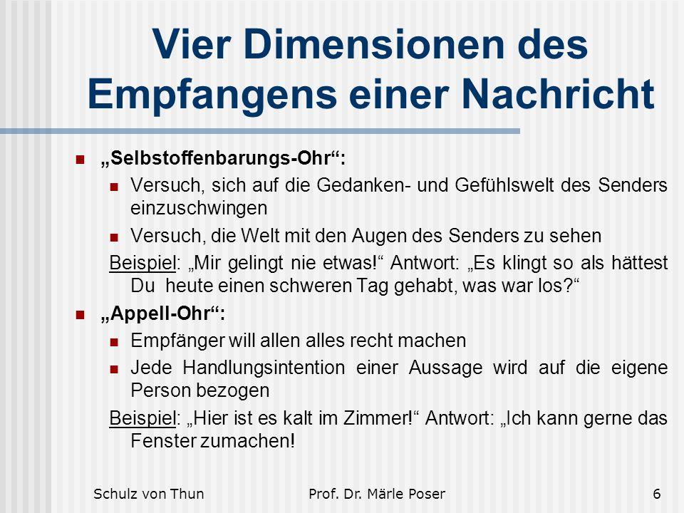 """Schulz von ThunProf. Dr. Märle Poser6 Vier Dimensionen des Empfangens einer Nachricht """"Selbstoffenbarungs-Ohr"""": Versuch, sich auf die Gedanken- und Ge"""