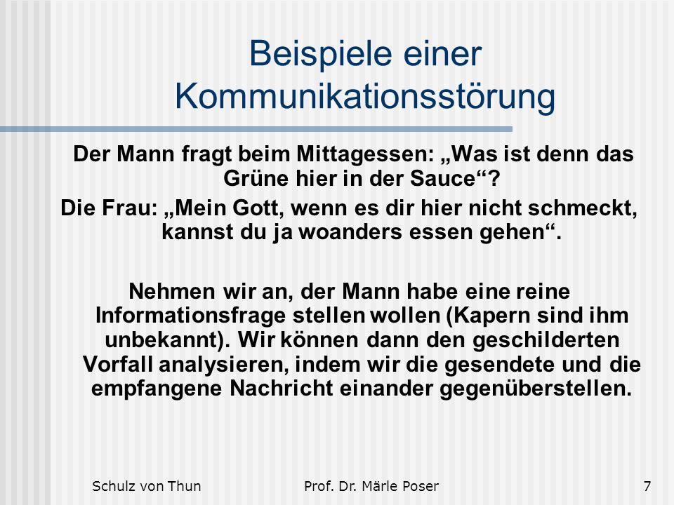 """Schulz von ThunProf. Dr. Märle Poser7 Beispiele einer Kommunikationsstörung Der Mann fragt beim Mittagessen: """"Was ist denn das Grüne hier in der Sauce"""
