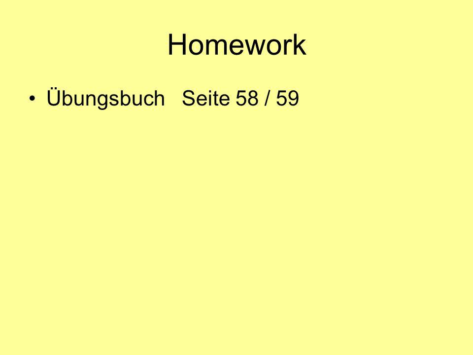 Homework Übungsbuch Seite 58 / 59