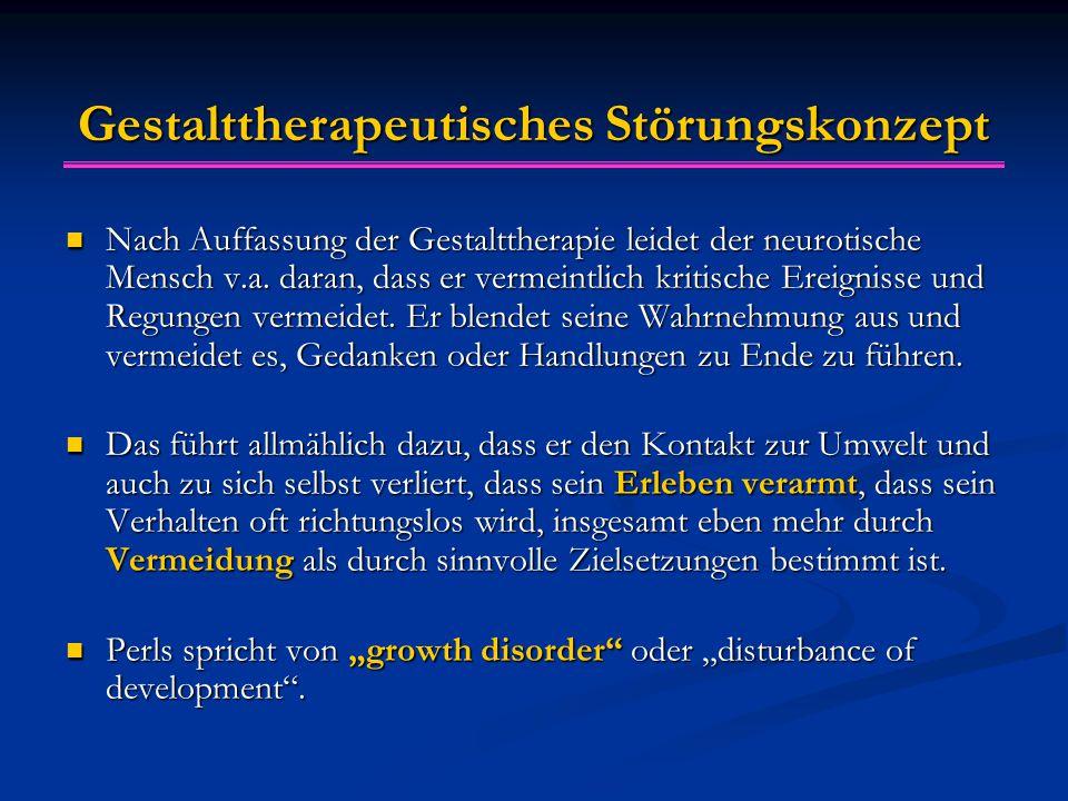 Gestalttherapeutisches Störungskonzept Nach Auffassung der Gestalttherapie leidet der neurotische Mensch v.a. daran, dass er vermeintlich kritische Er