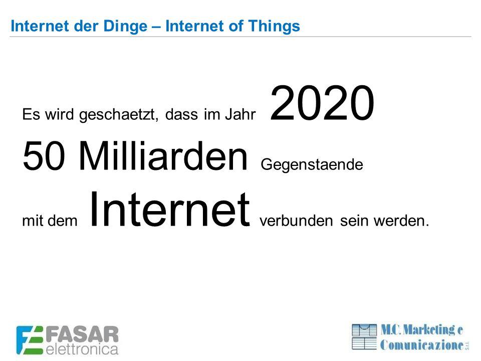 Internet der Dinge – Internet of Things Es wird geschaetzt, dass im Jahr 2020 50 Milliarden Gegenstaende mit dem Internet verbunden sein werden.