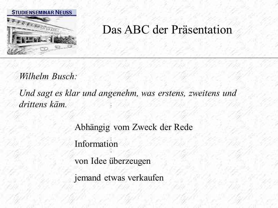 Die gelungene Präsentation hängt ab vom Inhalt (Inhaltsaspekt) und von der Art und Weise der Darbietung (Selbstdarstellungsaspekt) Das ABC der Präsent
