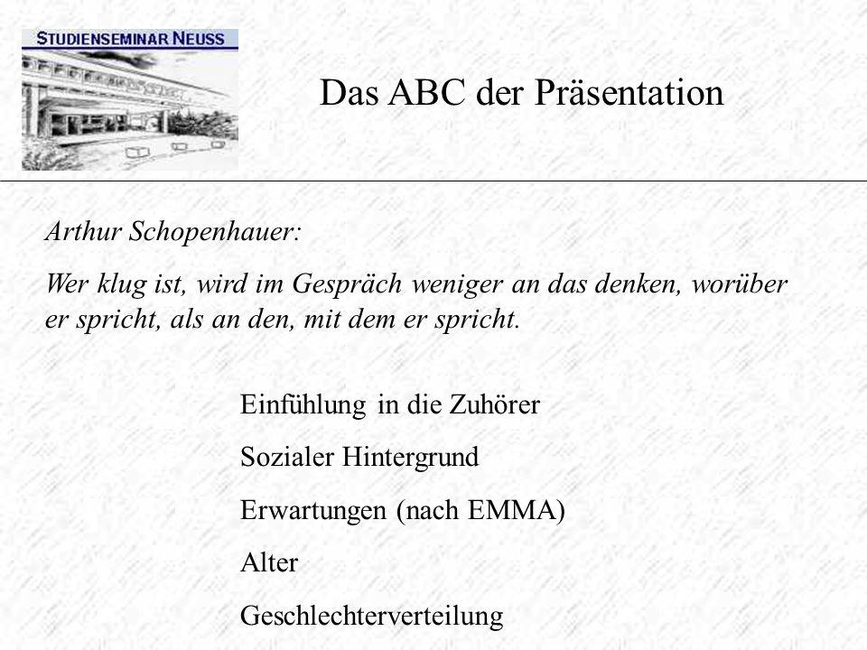 Das ABC der Präsentation Arthur Schopenhauer: Wer klug ist, wird im Gespräch weniger an das denken, worüber er spricht, als an den, mit dem er spricht