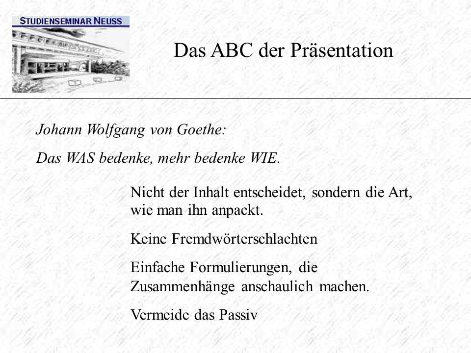 Das ABC der Präsentation Johann Wolfgang von Goethe: Das WAS bedenke, mehr bedenke WIE. Nicht der Inhalt entscheidet, sondern die Art, wie man ihn anp