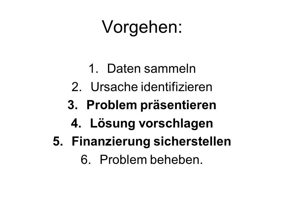 Vorgehen: 1.Daten sammeln 2.Ursache identifizieren 3.Problem präsentieren 4.Lösung vorschlagen 5.Finanzierung sicherstellen 6.Problem beheben.