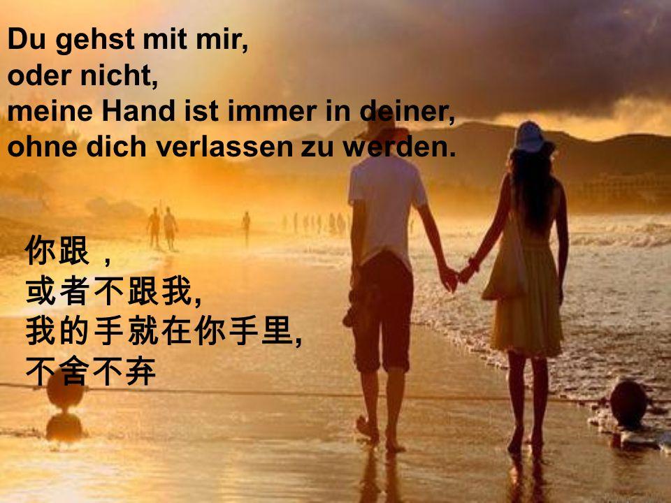 Du gehst mit mir, oder nicht, meine Hand ist immer in deiner, ohne dich verlassen zu werden.