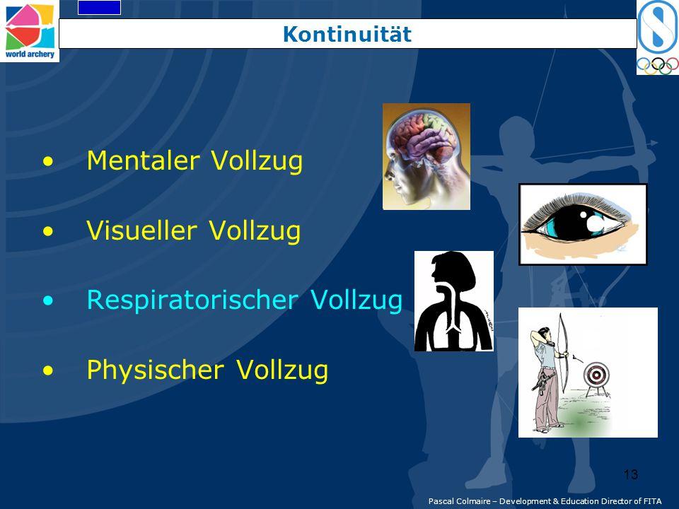 Kontinuität Mentaler Vollzug Visueller Vollzug Respiratorischer Vollzug Physischer Vollzug Pascal Colmaire – Development & Education Director of FITA 13
