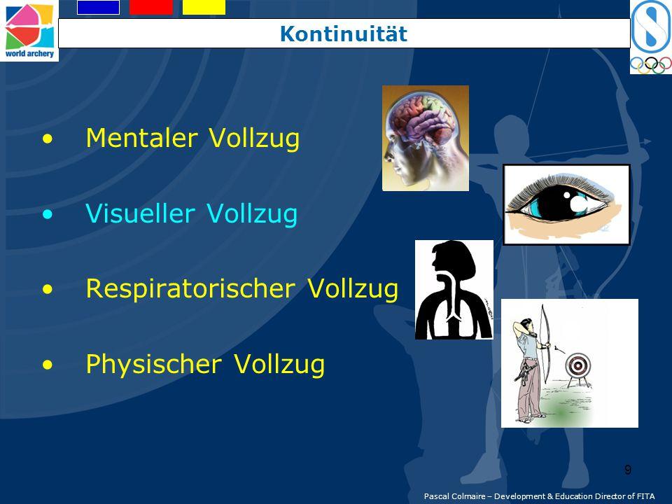 Kontinuität Mentaler Vollzug Visueller Vollzug Respiratorischer Vollzug Physischer Vollzug Pascal Colmaire – Development & Education Director of FITA 9