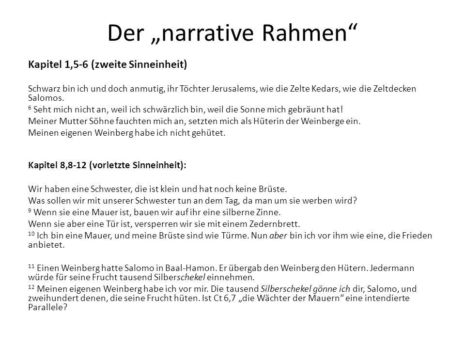 """Der """"narrative Rahmen"""" Kapitel 1,5-6 (zweite Sinneinheit) Schwarz bin ich und doch anmutig, ihr Töchter Jerusalems, wie die Zelte Kedars, wie die Zelt"""