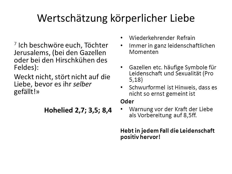 Wertschätzung körperlicher Liebe 7 Ich beschwöre euch, Töchter Jerusalems, (bei den Gazellen oder bei den Hirschkühen des Feldes): Weckt nicht, stört