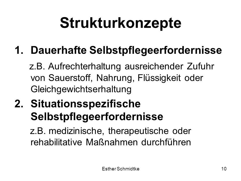 Esther Schmidtke10 Strukturkonzepte 1.Dauerhafte Selbstpflegeerfordernisse z.B.