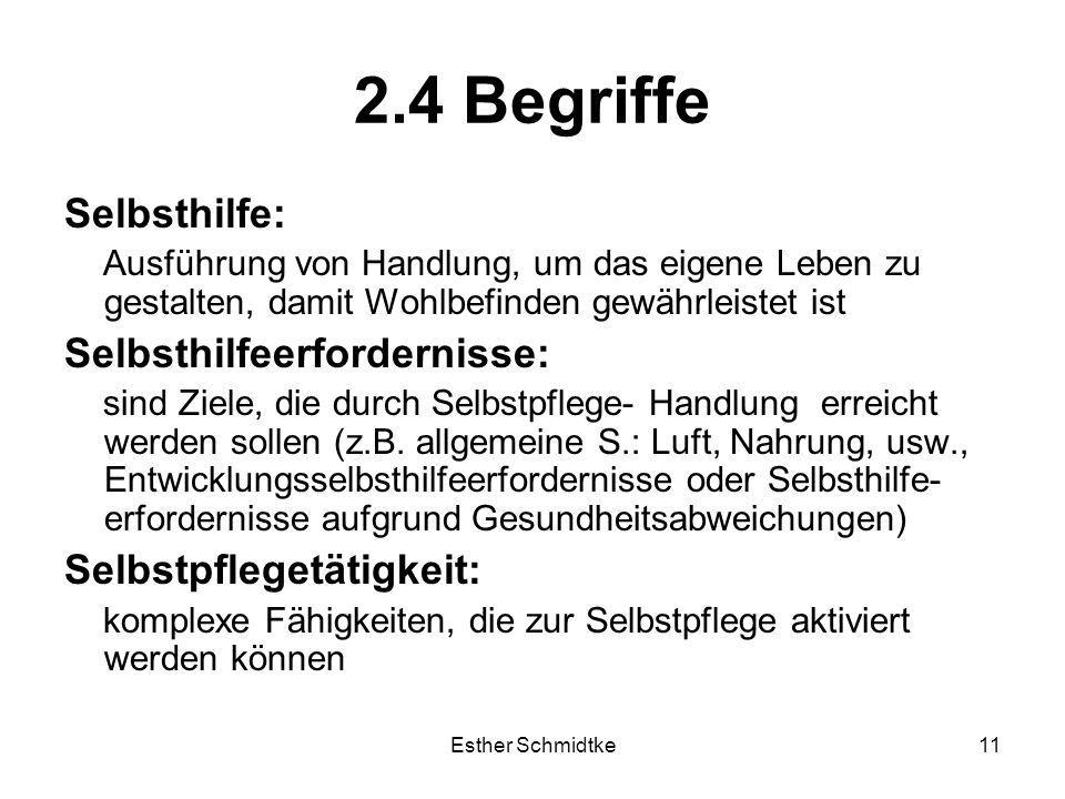 Esther Schmidtke11 2.4 Begriffe Selbsthilfe: Ausführung von Handlung, um das eigene Leben zu gestalten, damit Wohlbefinden gewährleistet ist Selbsthilfeerfordernisse: sind Ziele, die durch Selbstpflege- Handlung erreicht werden sollen (z.B.