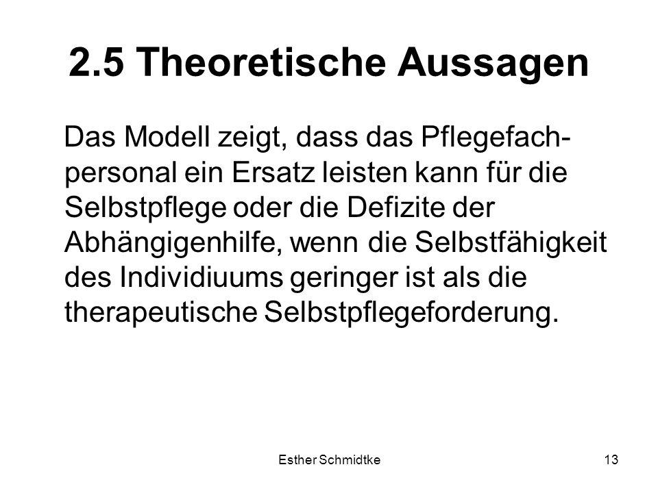 Esther Schmidtke13 2.5 Theoretische Aussagen Das Modell zeigt, dass das Pflegefach- personal ein Ersatz leisten kann für die Selbstpflege oder die Defizite der Abhängigenhilfe, wenn die Selbstfähigkeit des Individiuums geringer ist als die therapeutische Selbstpflegeforderung.