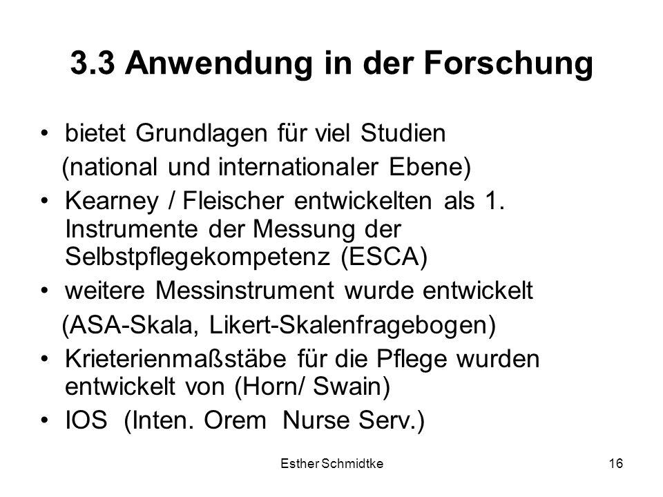 Esther Schmidtke16 3.3 Anwendung in der Forschung bietet Grundlagen für viel Studien (national und internationaler Ebene) Kearney / Fleischer entwickelten als 1.