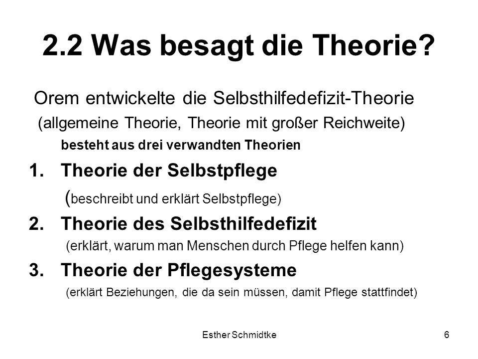 Esther Schmidtke6 2.2 Was besagt die Theorie.