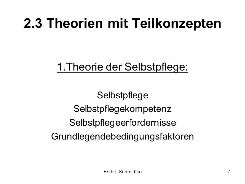 Esther Schmidtke7 2.3 Theorien mit Teilkonzepten 1.Theorie der Selbstpflege: Selbstpflege Selbstpflegekompetenz Selbstpflegeerfordernisse Grundlegendebedingungsfaktoren