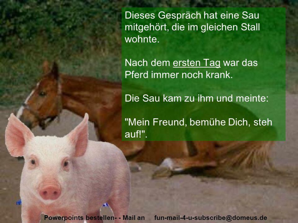 Powerpoints bestellen- - Mail an fun-mail-4-u-subscribe@domeus.de Am zweiten Tag das gleiche Bild - die Sau versuchte unaufhörlich, das kranke Pferd zu ü be rzeugen: Komm, steh auf, sonst musst du sterben! .