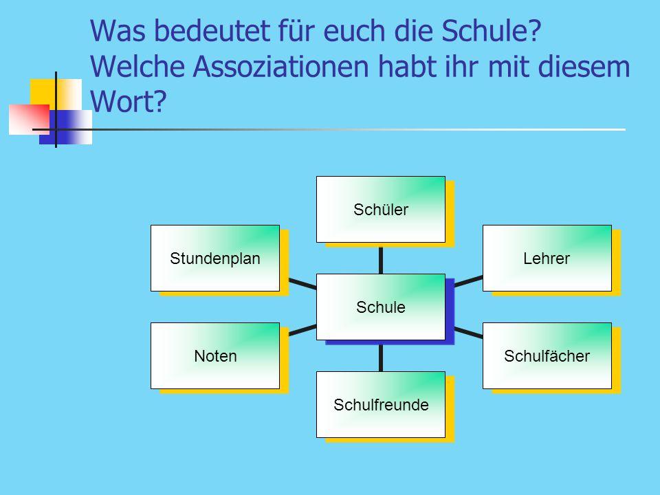 Was bedeutet für euch die Schule? Welche Assoziationen habt ihr mit diesem Wort? Schule SchülerLehrerSchulfächerSchulfreundeNotenStundenplan