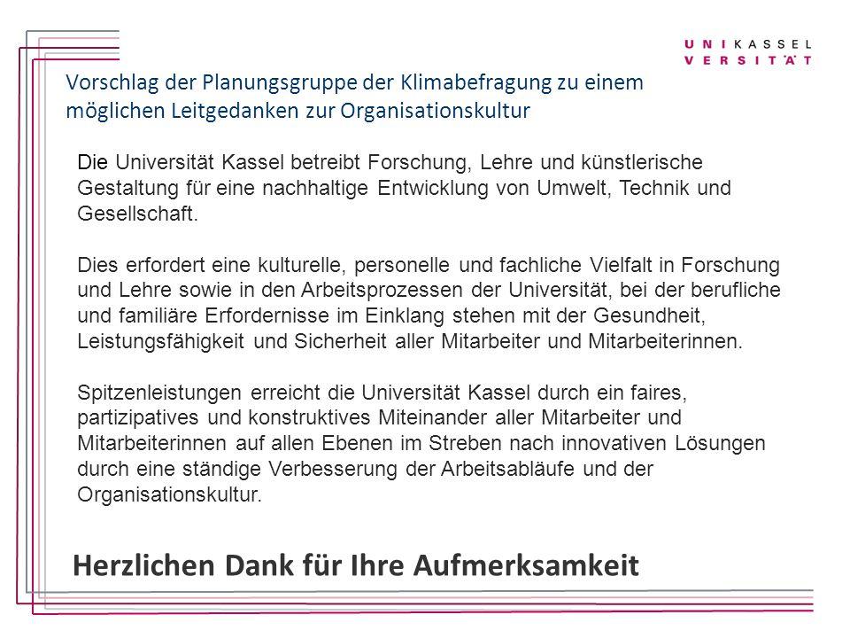 Vorschlag der Planungsgruppe der Klimabefragung zu einem möglichen Leitgedanken zur Organisationskultur Die Universität Kassel betreibt Forschung, Leh