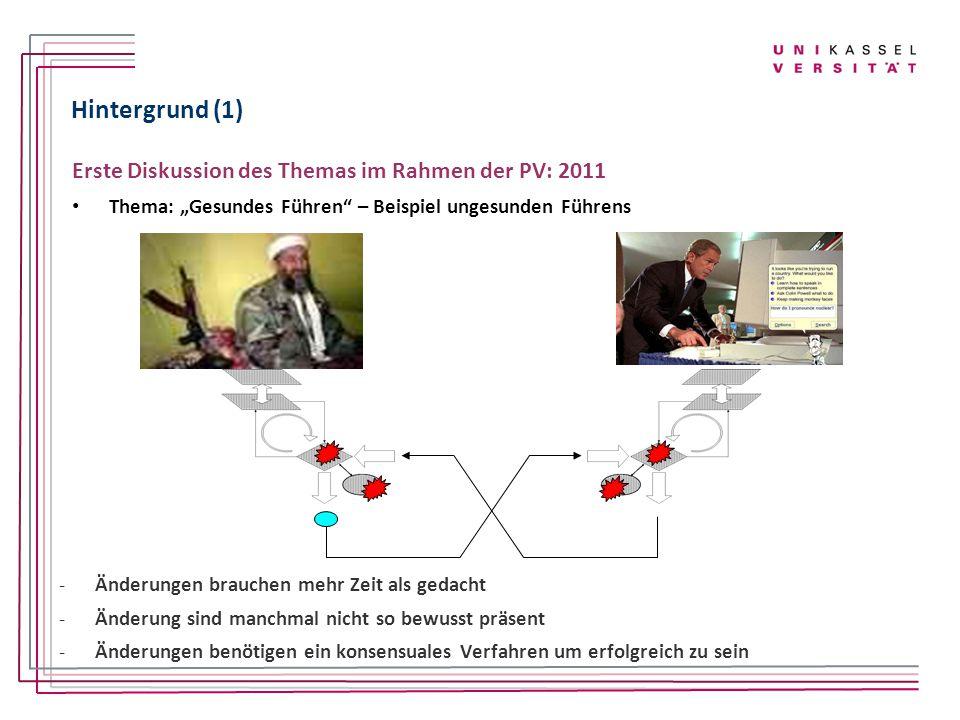 """Hintergrund (1) Erste Diskussion des Themas im Rahmen der PV: 2011 Thema: """"Gesundes Führen"""" – Beispiel ungesunden Führens -Änderungen brauchen mehr Ze"""