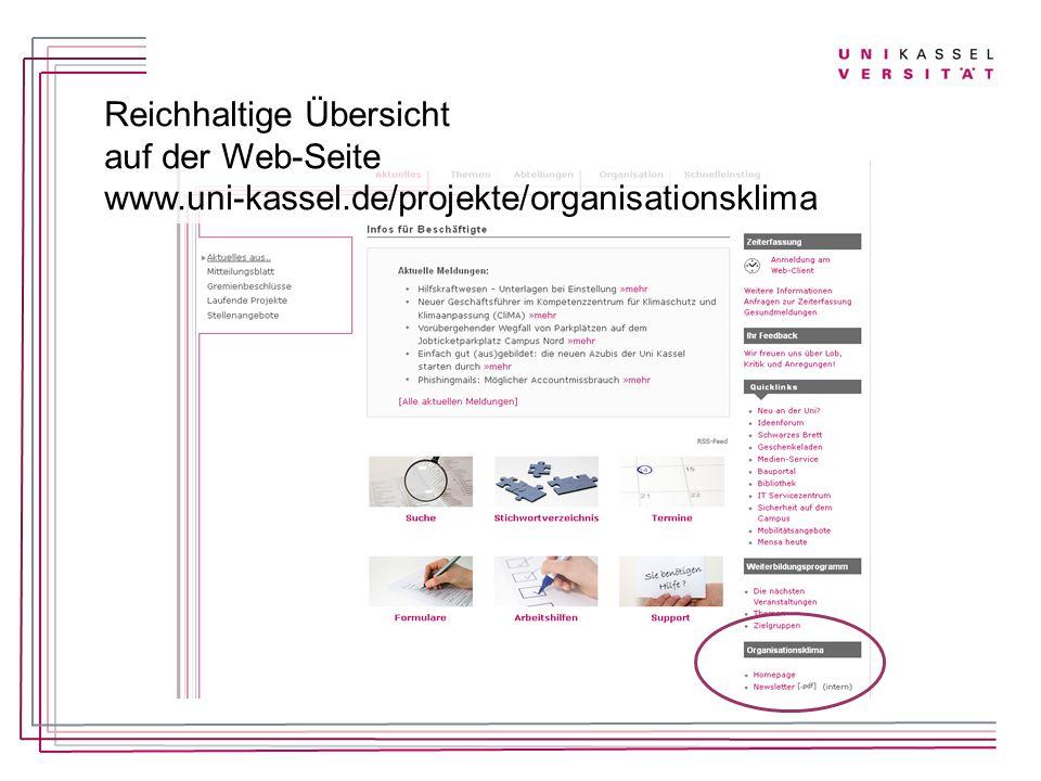 Reichhaltige Übersicht auf der Web-Seite www.uni-kassel.de/projekte/organisationsklima