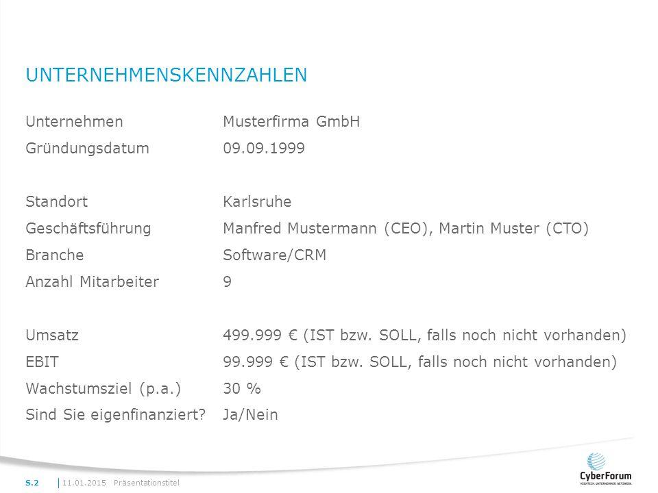 UNTERNEHMENSKENNZAHLEN PräsentationstitelS.2 UnternehmenMusterfirma GmbH Gründungsdatum09.09.1999 StandortKarlsruhe GeschäftsführungManfred Mustermann (CEO), Martin Muster (CTO) BrancheSoftware/CRM Anzahl Mitarbeiter9 Umsatz499.999 € (IST bzw.