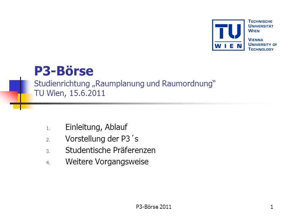 P3-Börse: Einleitung Informationsveranstaltung für Studierende und Lehrende Vorstellung der geplanten P3´s für das Wintersemester 2011/12 und/oder Sommersemester 2012 5 SWS oder 10 SWS (7 bzw.
