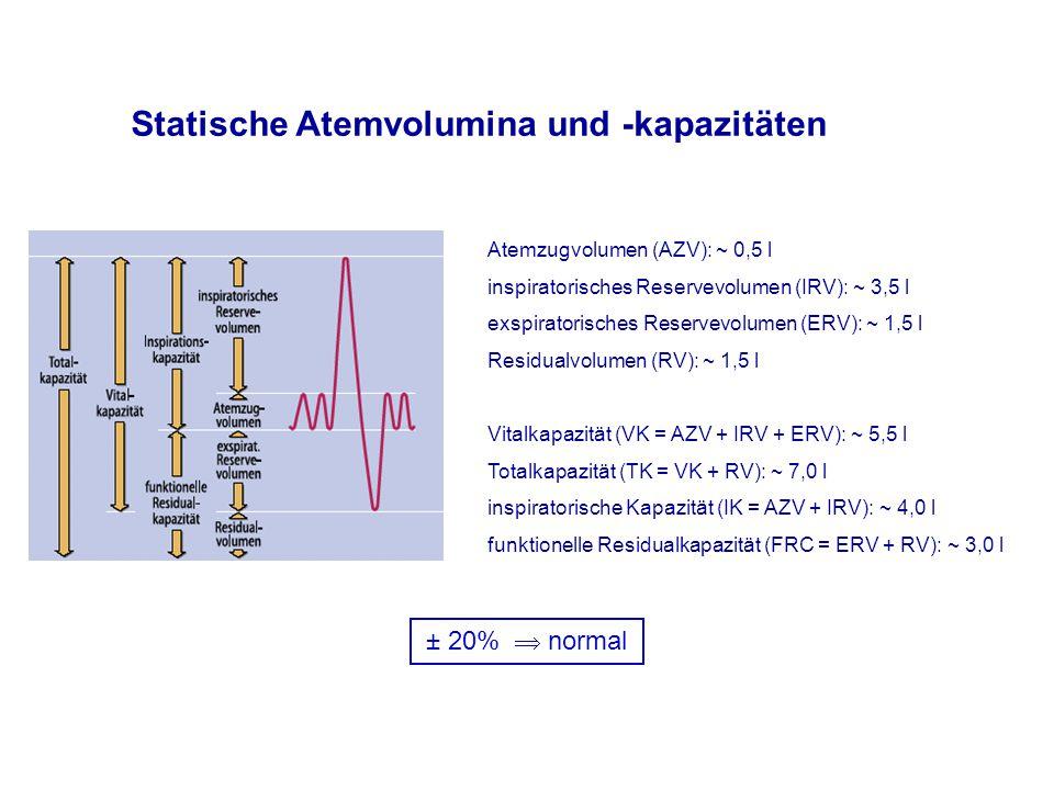 Statische Atemvolumina und -kapazitäten Atemzugvolumen (AZV): ~ 0,5 l inspiratorisches Reservevolumen (IRV): ~ 3,5 l exspiratorisches Reservevolumen (ERV): ~ 1,5 l Residualvolumen (RV): ~ 1,5 l Vitalkapazität (VK = AZV + IRV + ERV): ~ 5,5 l Totalkapazität (TK = VK + RV): ~ 7,0 l inspiratorische Kapazität (IK = AZV + IRV): ~ 4,0 l funktionelle Residualkapazität (FRC = ERV + RV): ~ 3,0 l ± 20%  normal