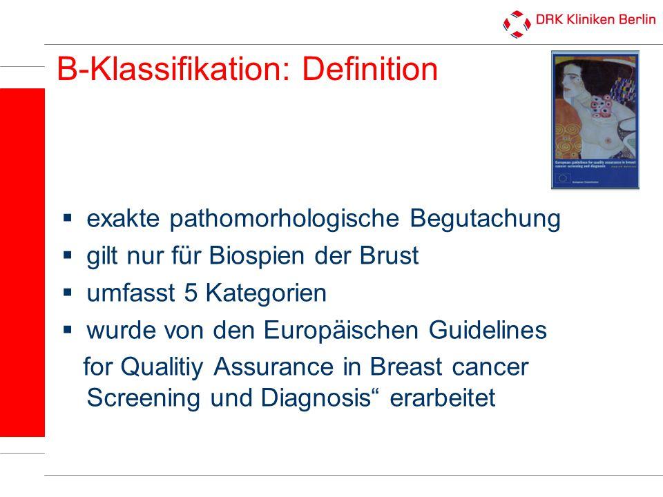 B-Klassifikation Kategorie B1a B1b B2 B3 B4 B5a B5b B5c B5d Definition nicht verwertbares Gewebe Normalgewebe benigne Läsion benigne, aber mit unsicherem biologischen Potenzial malignitätsverdächtig nicht invasives Karzinom invasives Karzinom Verdacht auf Invasion anderer maligner Tumor (z.B.