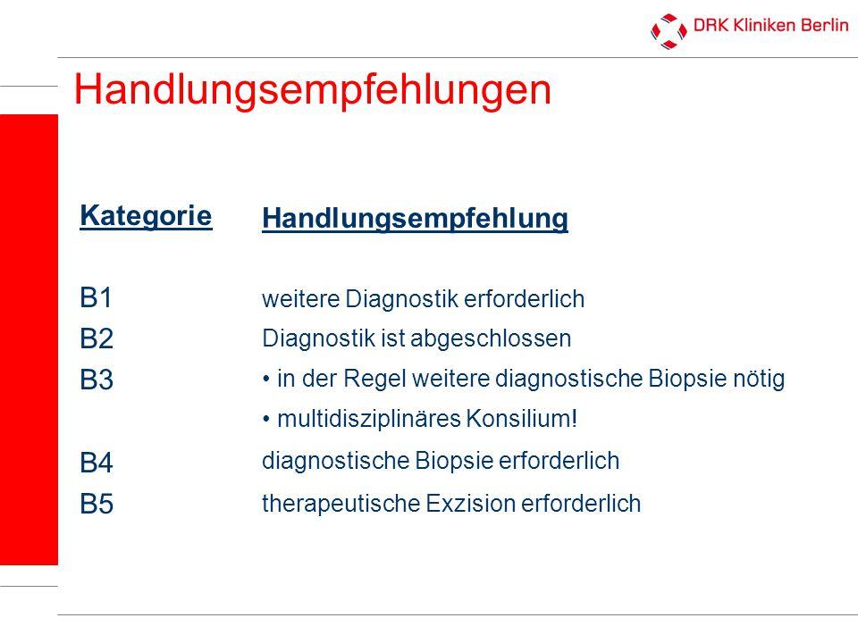Handlungsempfehlungen Kategorie B1 B2 B3 B4 B5 Handlungsempfehlung weitere Diagnostik erforderlich Diagnostik ist abgeschlossen in der Regel weitere d