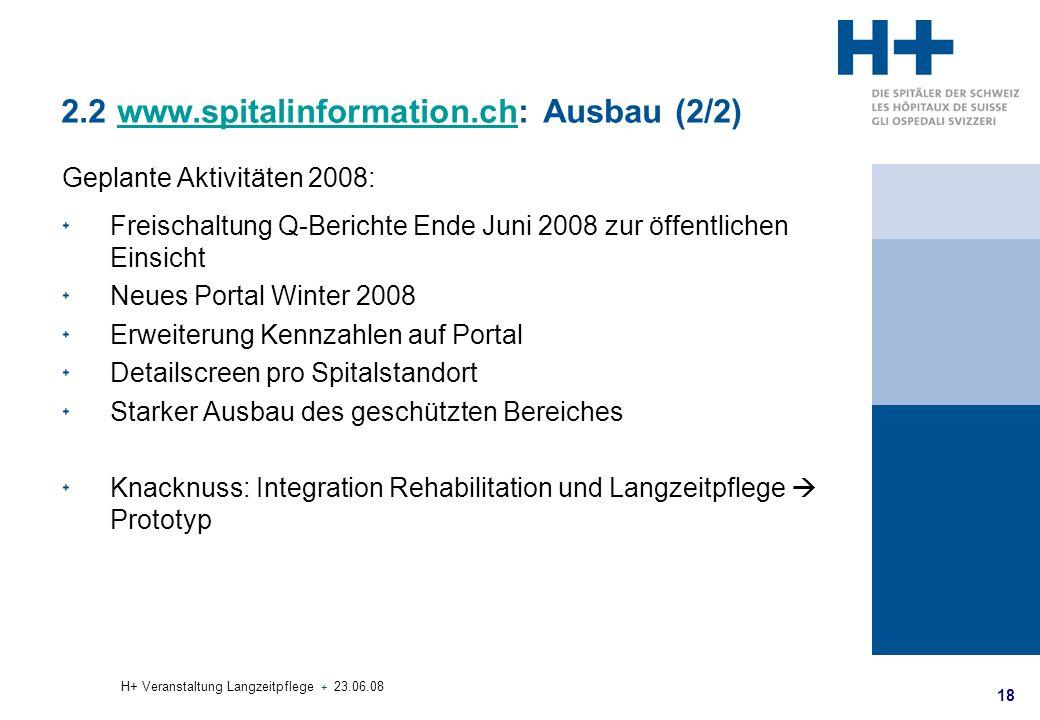 18 H+ Veranstaltung Langzeitpflege + 23.06.08 2.2 www.spitalinformation.ch: Ausbau (2/2)www.spitalinformation.ch Geplante Aktivitäten 2008: Freischalt