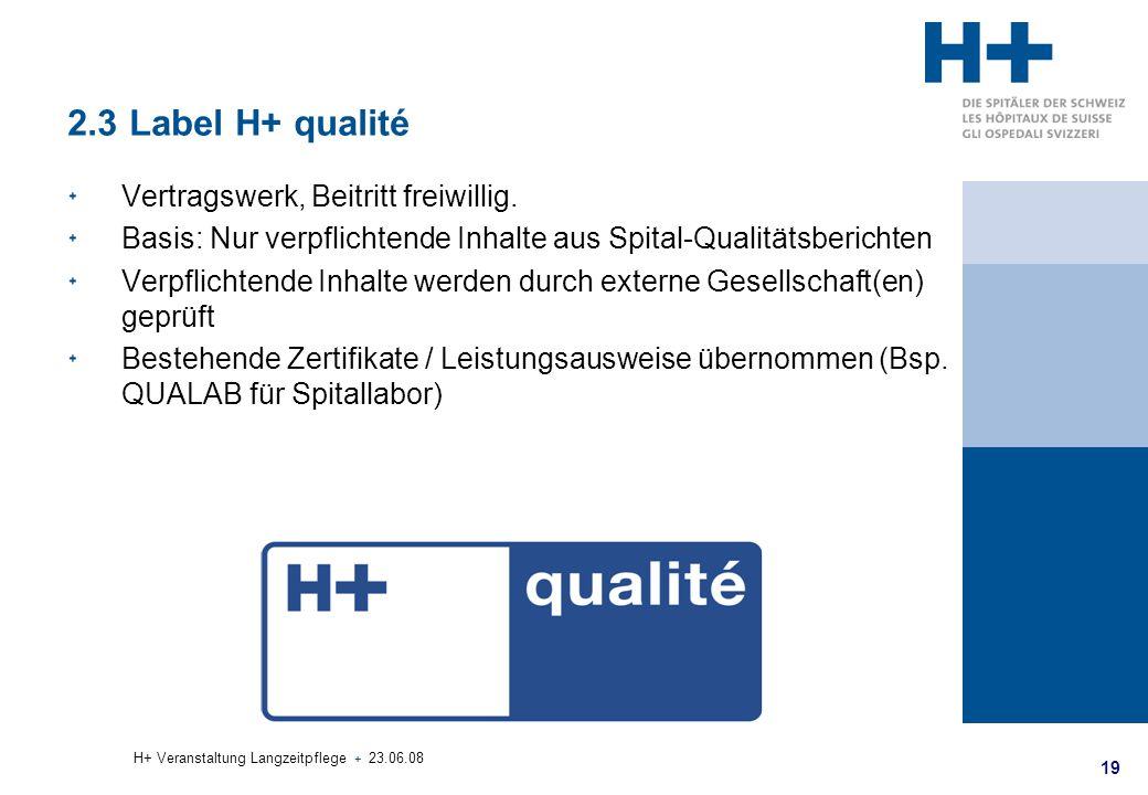 19 H+ Veranstaltung Langzeitpflege + 23.06.08 2.3 Label H+ qualité Vertragswerk, Beitritt freiwillig. Basis: Nur verpflichtende Inhalte aus Spital-Qua