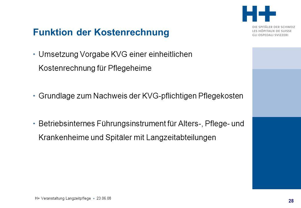 28 H+ Veranstaltung Langzeitpflege + 23.06.08 Funktion der Kostenrechnung Umsetzung Vorgabe KVG einer einheitlichen Kostenrechnung für Pflegeheime Gru