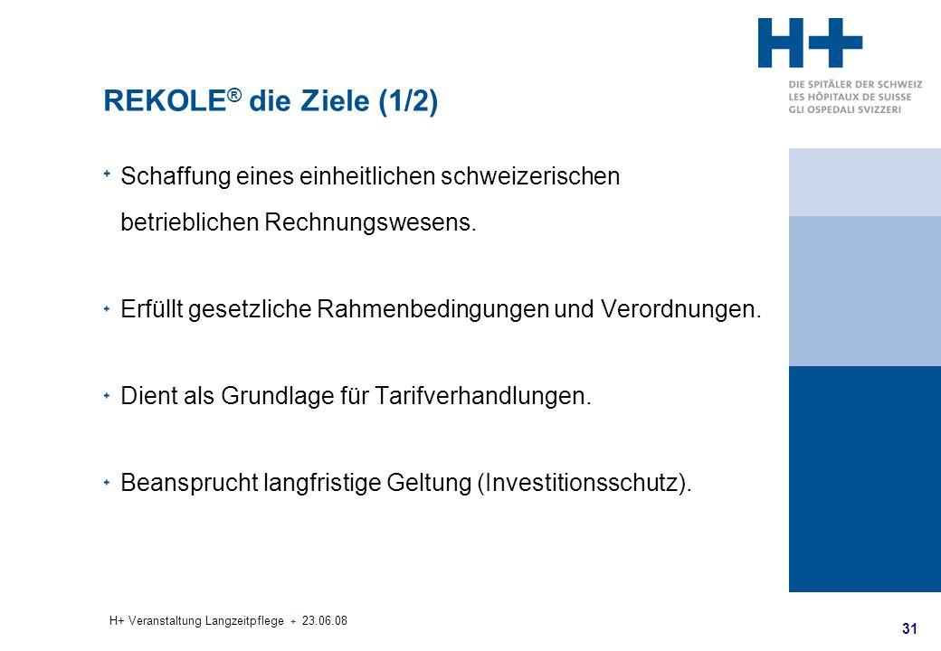 31 H+ Veranstaltung Langzeitpflege + 23.06.08 REKOLE ® die Ziele (1/2) Schaffung eines einheitlichen schweizerischen betrieblichen Rechnungswesens. Er