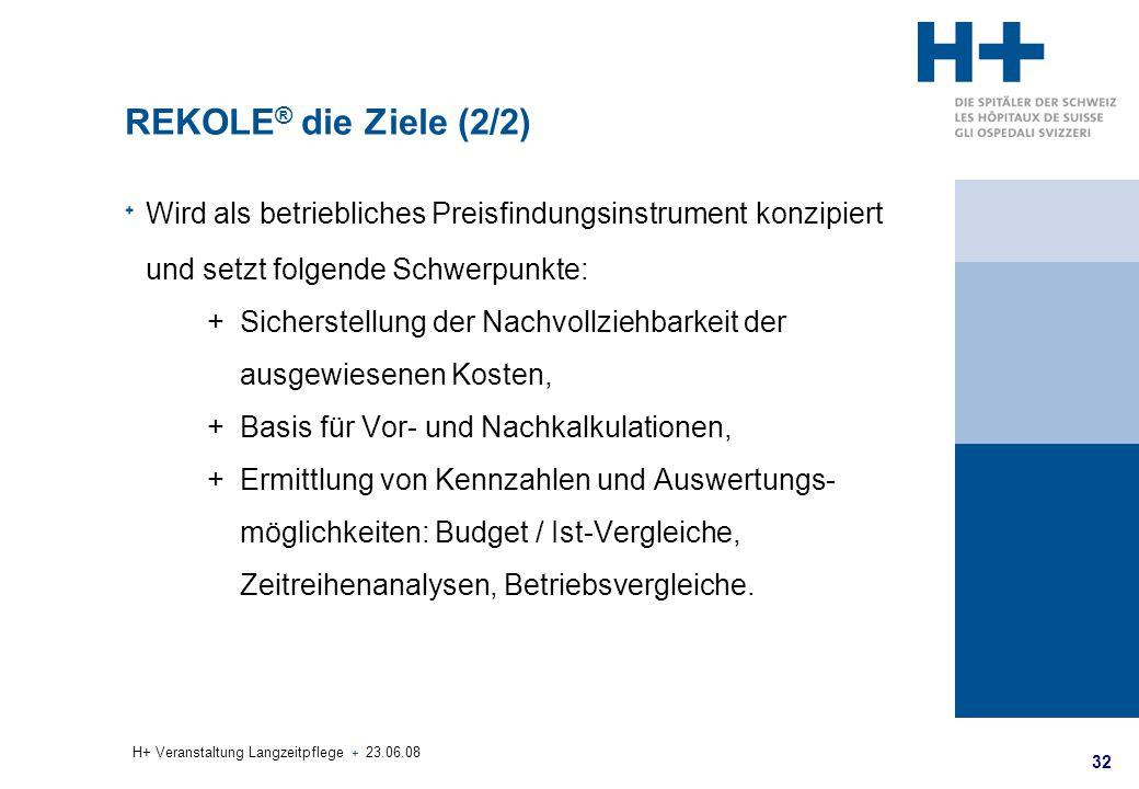 32 H+ Veranstaltung Langzeitpflege + 23.06.08 REKOLE ® die Ziele (2/2) Wird als betriebliches Preisfindungsinstrument konzipiert und setzt folgende Sc