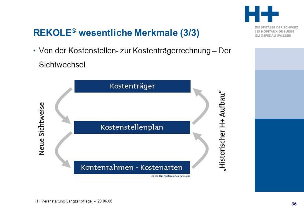 35 H+ Veranstaltung Langzeitpflege + 23.06.08 REKOLE ® wesentliche Merkmale (3/3) Von der Kostenstellen- zur Kostenträgerrechnung – Der Sichtwechsel