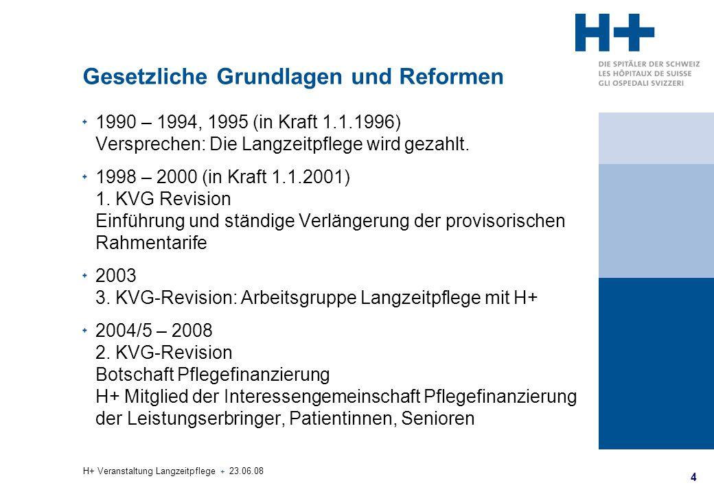 4 H+ Veranstaltung Langzeitpflege + 23.06.08 Gesetzliche Grundlagen und Reformen 1990 – 1994, 1995 (in Kraft 1.1.1996) Versprechen: Die Langzeitpflege