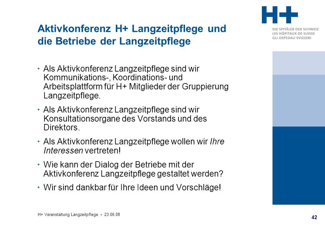 42 H+ Veranstaltung Langzeitpflege + 23.06.08 Aktivkonferenz H+ Langzeitpflege und die Betriebe der Langzeitpflege Als Aktivkonferenz Langzeitpflege s