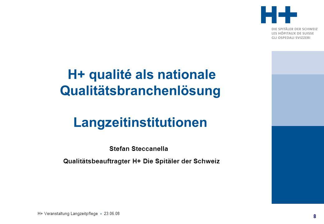 8 H+ Veranstaltung Langzeitpflege + 23.06.08 H+ qualité als nationale Qualitätsbranchenlösung Langzeitinstitutionen Stefan Steccanella Qualitätsbeauft