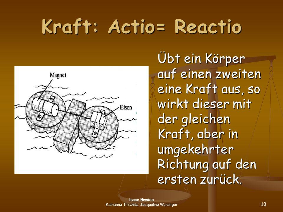 Isaac Newton Katharina Trischitz; Jacqueline Wurzinger 10 Kraft: Actio= Reactio Übt ein Körper auf einen zweiten eine Kraft aus, so wirkt dieser mit d