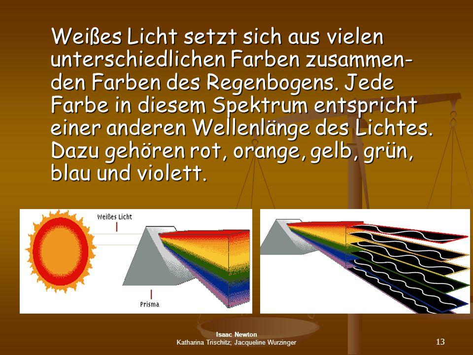 Isaac Newton Katharina Trischitz; Jacqueline Wurzinger 13 Weißes Licht setzt sich aus vielen unterschiedlichen Farben zusammen- den Farben des Regenbo