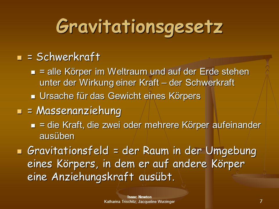 Isaac Newton Katharina Trischitz; Jacqueline Wurzinger 7 Gravitationsgesetz = Schwerkraft = Schwerkraft = alle Körper im Weltraum und auf der Erde ste